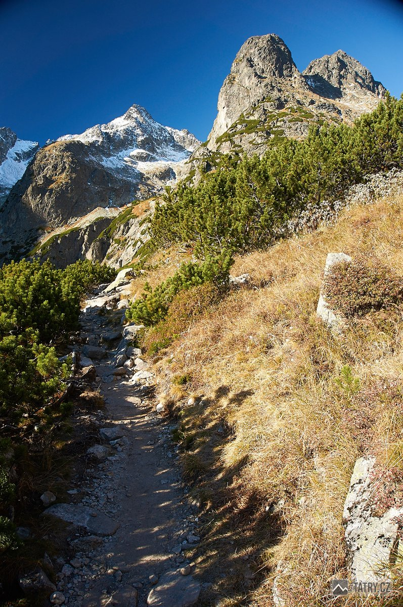 Čierny štít  a Jastrabia veža při stoupání do Červené doliny