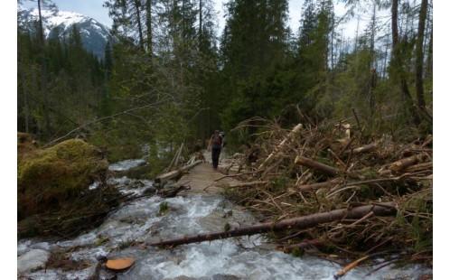 Vodou poškozený turistický chodník v Tatranské Javorině (autor: Peter Nadžady)