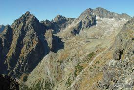 Prostredný hrot, Široká veža a Ľadové štíty z Lomnického sedla