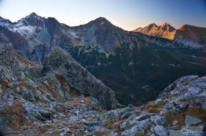 Kolový štít, Jahňací štít a Belianske Tatry ze Sedla pod Svišťovkou