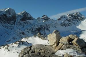 Kupola, Východná Vysoká, Prielom, Divá veža a Svišťový štít z Veľké Studené doliny