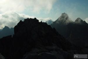 prostřední vrchol Rysů a Vysoká ze severozápadního vrcholu