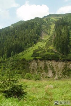 lavinová dráha v Tiché dolině