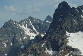 Nižné Rysy, Rysy, Vysoká a Veľký Mengusovský štít z Hrubého štítu