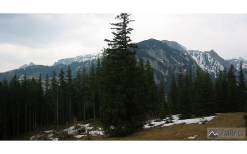 Výhled z Polany Niźnie Stoły na Giewont a Červené vrchy