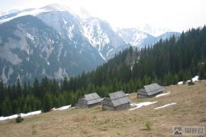 Pohled z polany do Doliny Kościeliska, v pozadí Červené vrchy - Temniak a Polská Tomanová