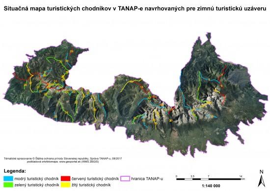 Mapa turistických cest - sezónní uzávěra